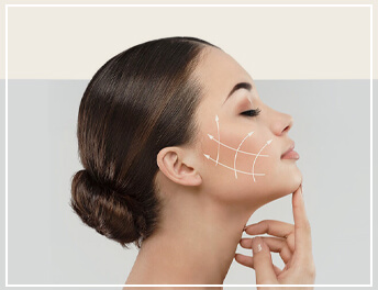 illustration of how collagen stimulation process would work on a woman's face